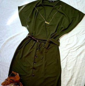 Plus belted down midi dress